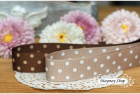 RG29 Coffee & Khakis Polka Dot Grosgrain Ribbon