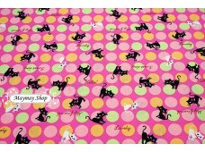 JLC2265 Blended Linen Cotton *Bubble Dot &Naughty Cat*