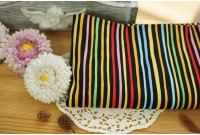 "KC2302 Cotton ""Colorful Stripe On Black"""