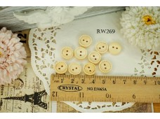 Rw269 Cream Doter Line Wooden Button