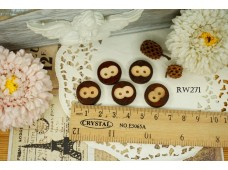 Rw271 Owl Wooden Button