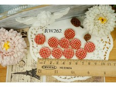 Rw262 Red Checks Wooden Button