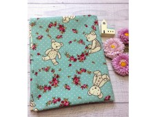 "JLC2402 Blended Linen Cotton""Teddy Bear & Wreath"""