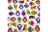 "C2439 Designer Brand Cotton""Colourful Owls Potrail"""