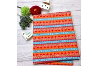 "C2445 Designer Brand Cotton""Orange Daisy Stripe"""
