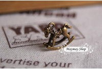 Rw72 Antique Zipper Charm * Rocking horse*(1)
