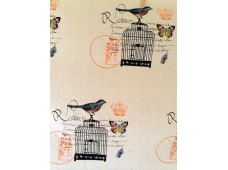 LC2569 Blended Linen Panel 'Vintage Bird Cage'