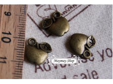 Rw72 Antique Zipper Charm *T  Apple *(3)
