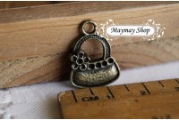 Rw72 Antique Zipper Charm * Hand Beg *(11)