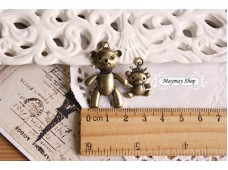 Rw72 Antique Zipper Charm *Small Teddy* (34)