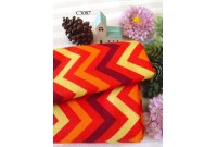 "C3087 Designer Brand Cotton ""Orange Red Tone Chevron"""