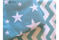 BC3279 Twill Cotton *Aqua Chevron & Star*