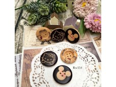 Rw354 Mickey & Kitty Wooden Button