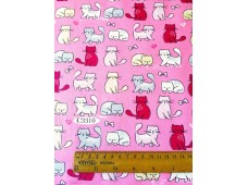 "C3310 Designer Brand Cotton""Cats In Pink Base"""
