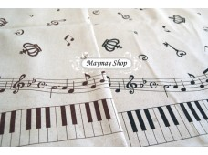 LC 484 Japanese Linen Cotton * Piano, Notes,Crown *