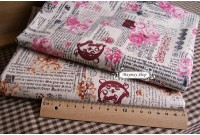 LC763 Blended Linen Cotton*Vintage Literal With Roses *