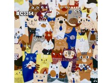 BC3354 TwillCotton *Cats Family* Brown