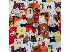 BC3355 TwillCotton *Cats Family* Red