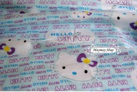 CF785 Cotton Flannel * Sweet Blue Hello Kitty script*